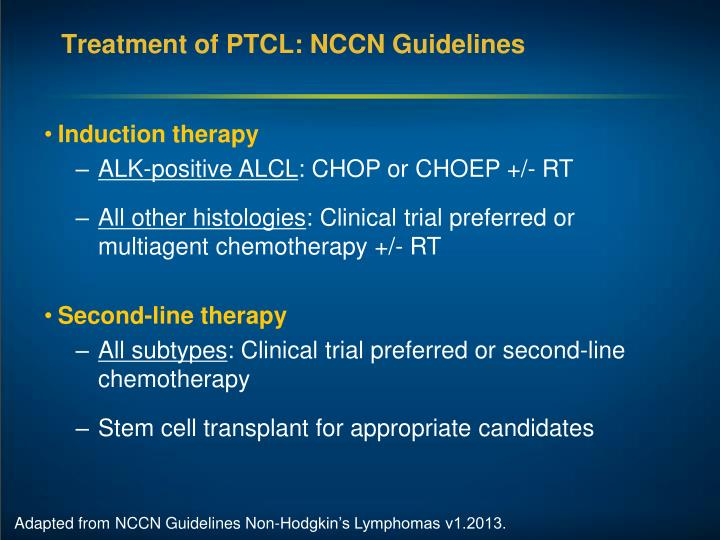 Treatment of PTCL: NCCN Guidelines