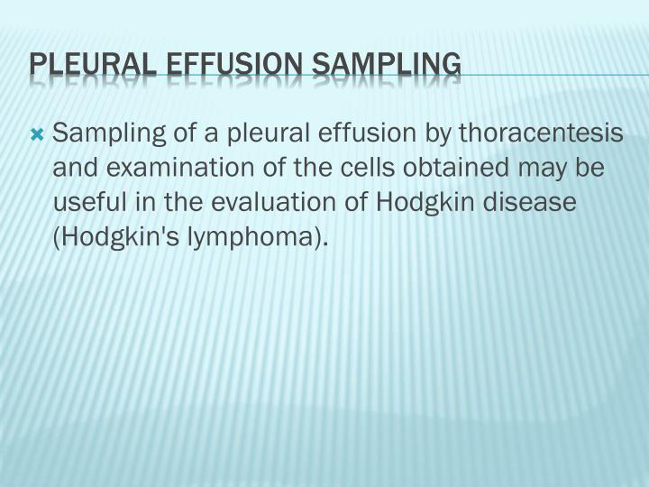 Sampling of a pleural effusion by