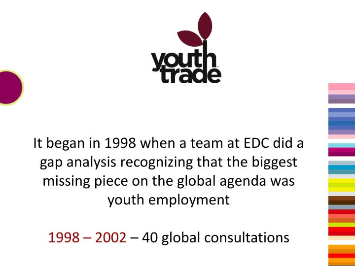 It began in 1998 when a team at EDC did a gap analysis recognizing that the biggest missing piece on the global agenda was youth employment