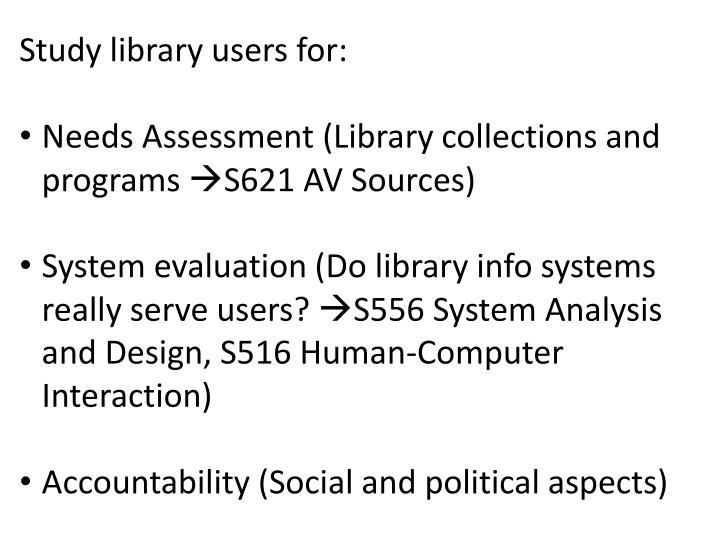 Study library users for: