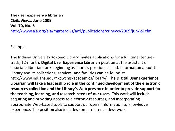 The user experience librarian