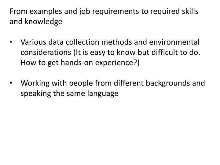 From examples and job requirements to required skills and knowledge