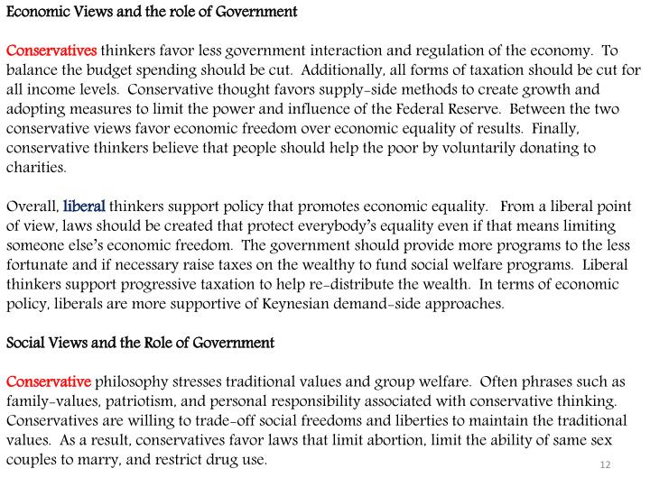 Economic Views and the role of Government
