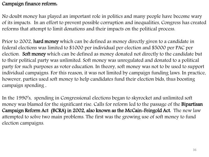 Campaign finance reform: