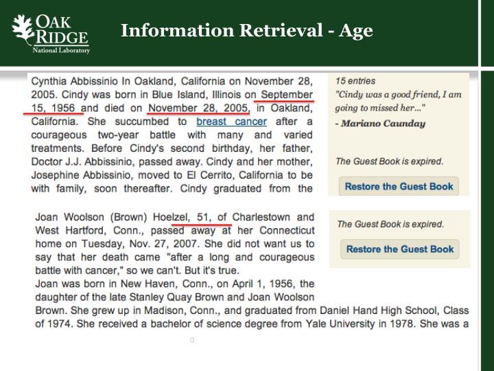 Information Retrieval - Age