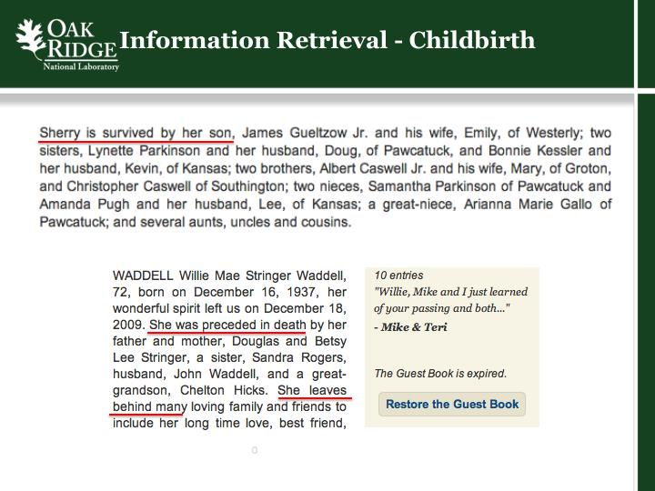 Information Retrieval - Childbirth