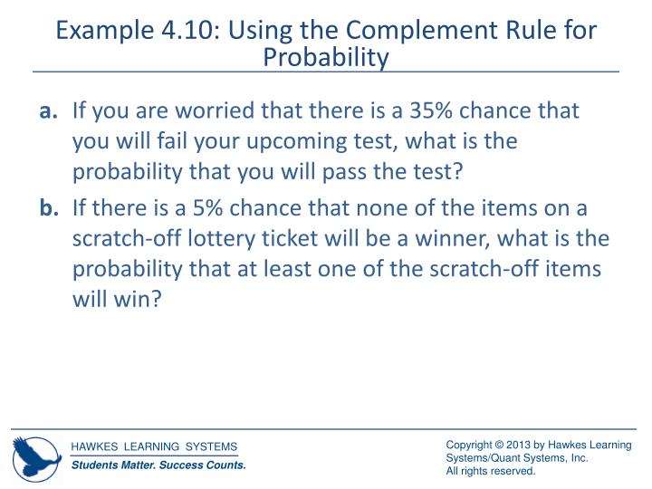 Example 4.10: Using the Complement Rule for Probability