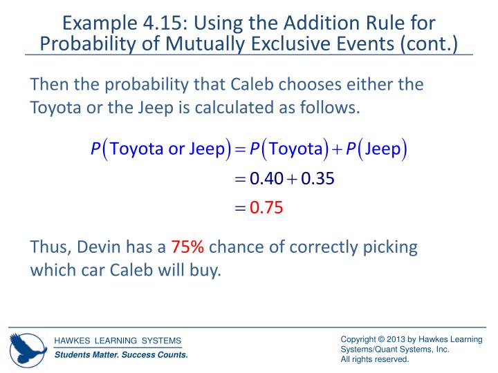 Example 4.15: Using the Addition Rule for Probability of Mutually Exclusive Events (cont.)