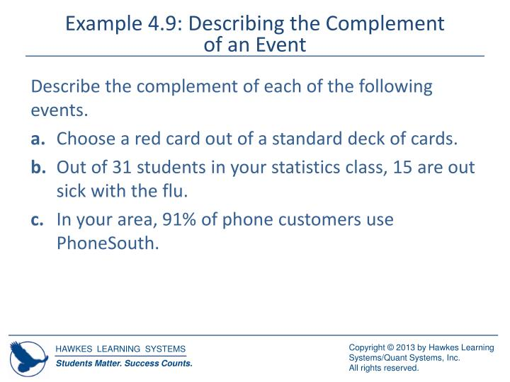 Example 4.9: Describing the Complement