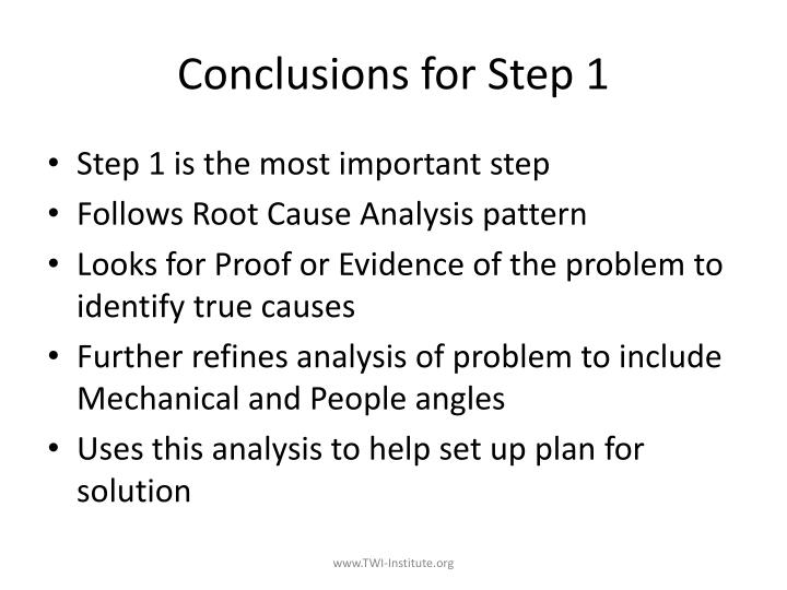 Conclusions for Step 1