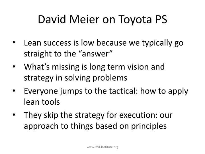David Meier on Toyota PS