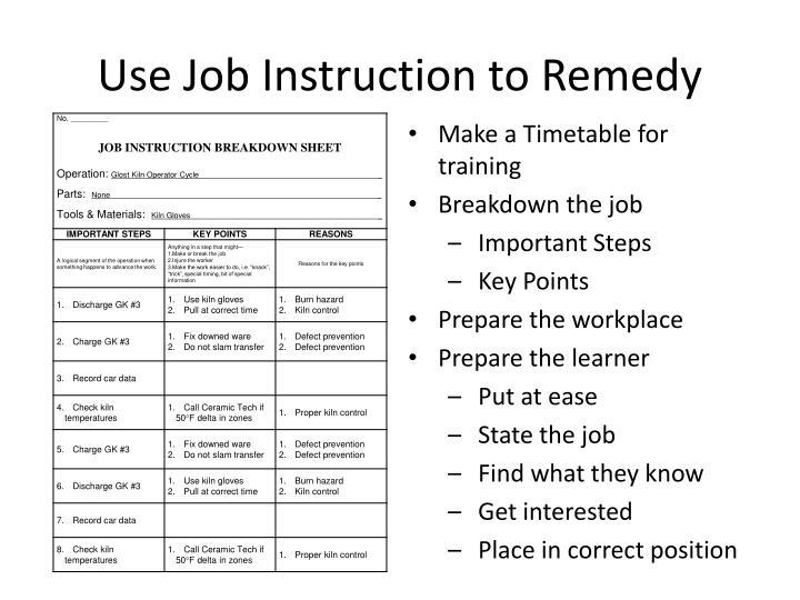 Use Job Instruction to Remedy