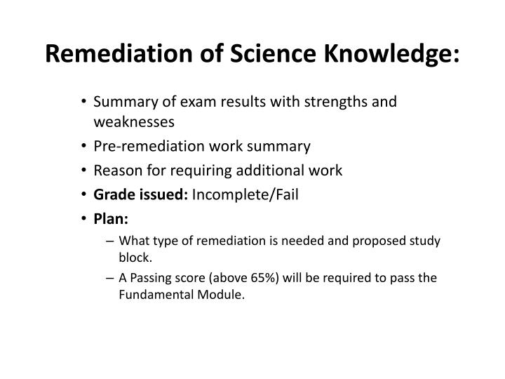 Remediation of Science Knowledge: