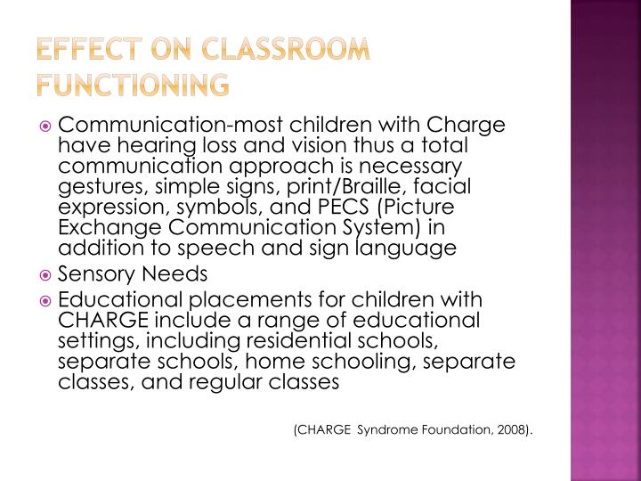 Effect on Classroom Functioning
