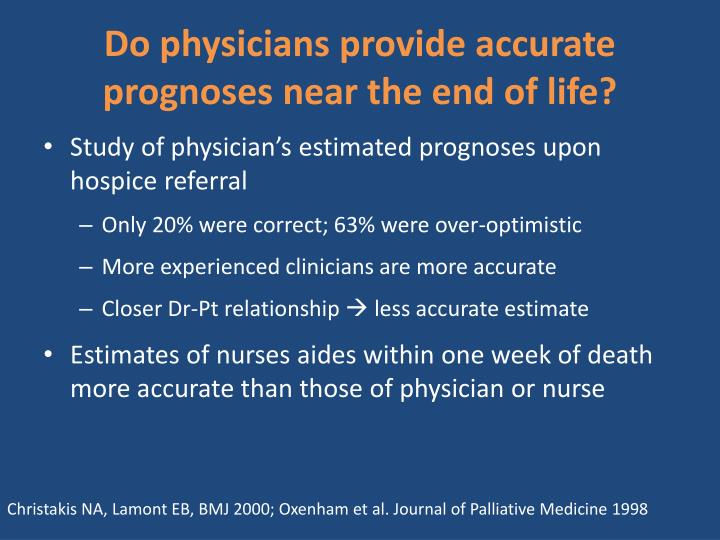 Do physicians provide accurate prognoses near the end of life?