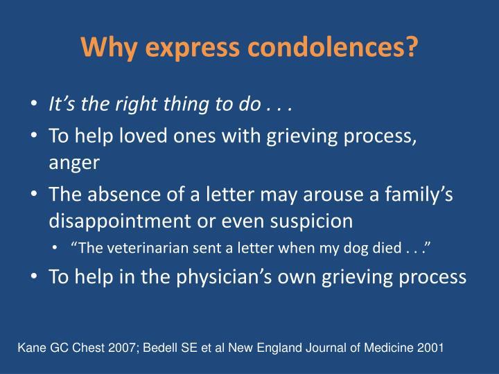 Why express condolences?
