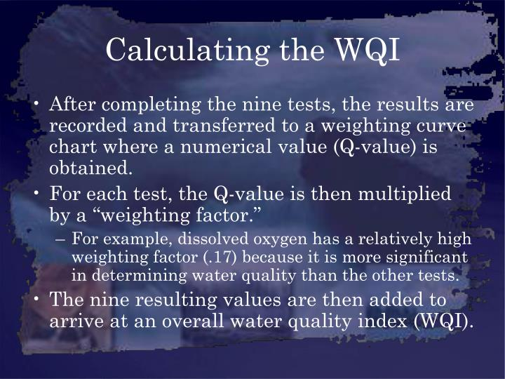 Calculating the WQI