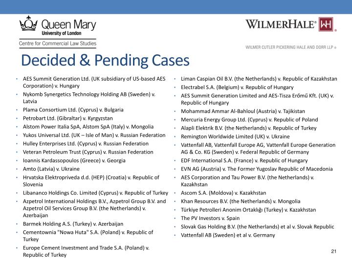 Decided & Pending Cases