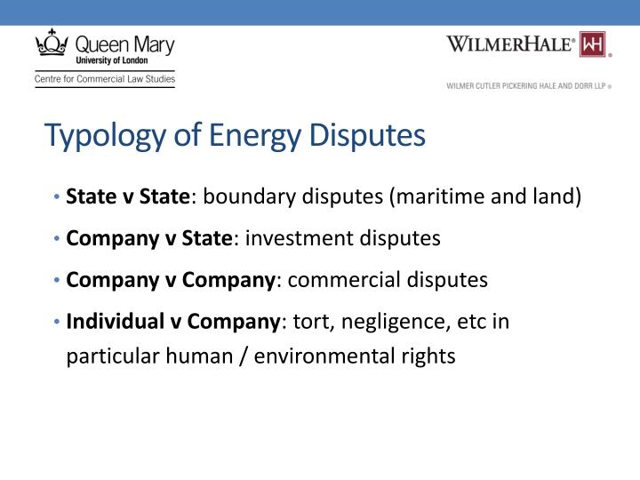 Typology of Energy Disputes