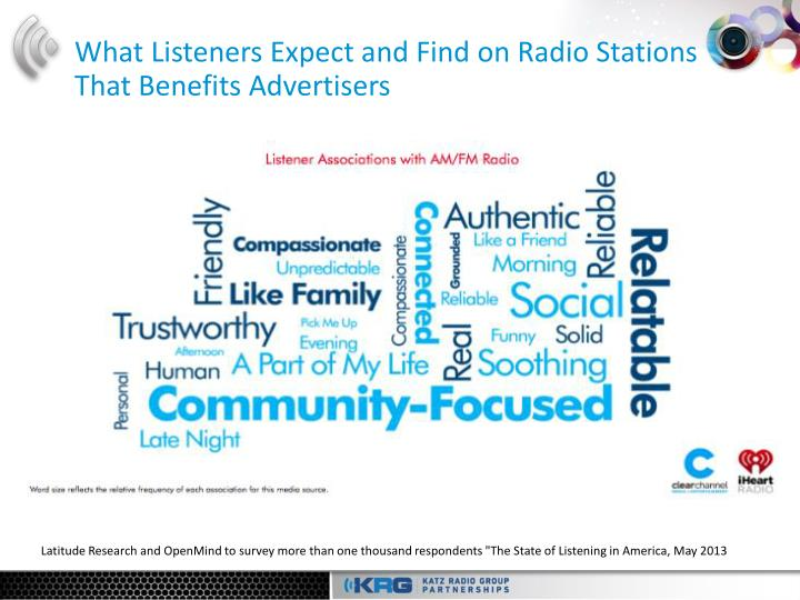 What listeners expect and find on radio stations that benefits advertisers