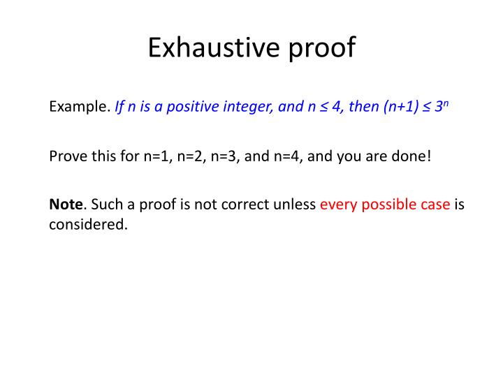 Exhaustive proof