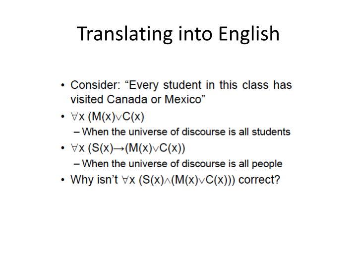 Translating into English
