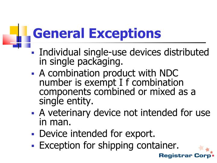 General Exceptions