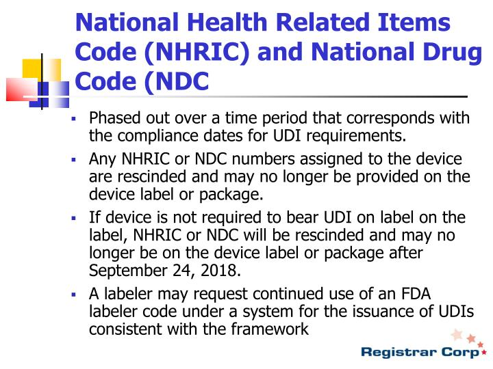 National Health Related Items Code (NHRIC) and National Drug Code (NDC