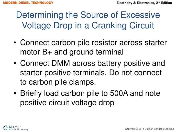 Determining the Source of Excessive Voltage Drop in a Cranking Circuit