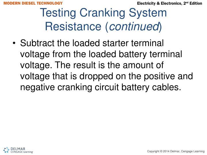 Testing Cranking System Resistance (