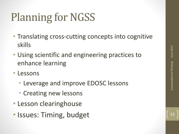 Planning for NGSS