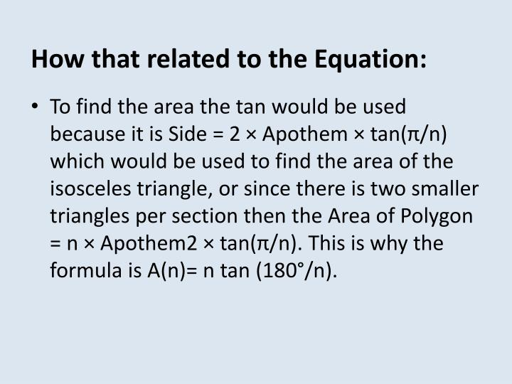 How that related to the Equation: