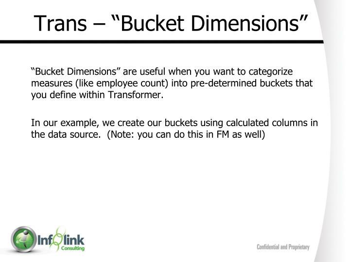 "Trans – ""Bucket Dimensions"""