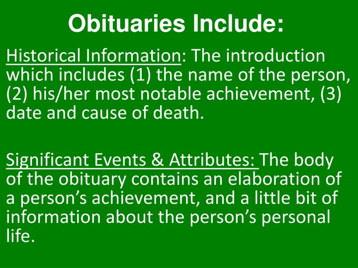 Obituaries Include: