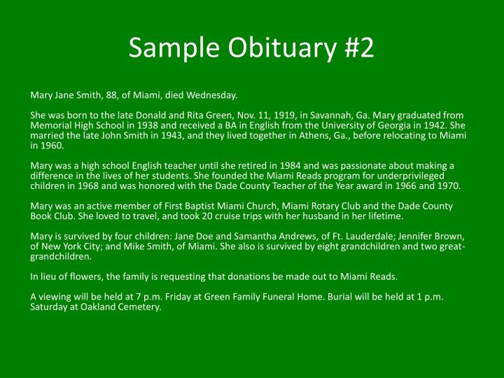 Sample Obituary #2