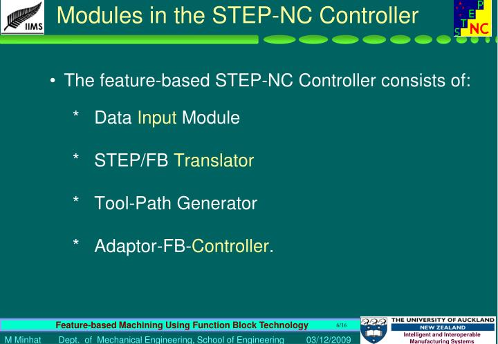 Modules in the STEP-NC Controller