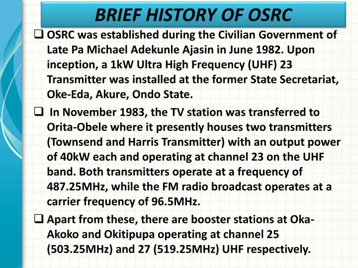 Brief history of osrc