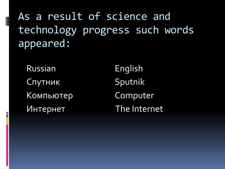 As a result of science and technology progress such words appeared:
