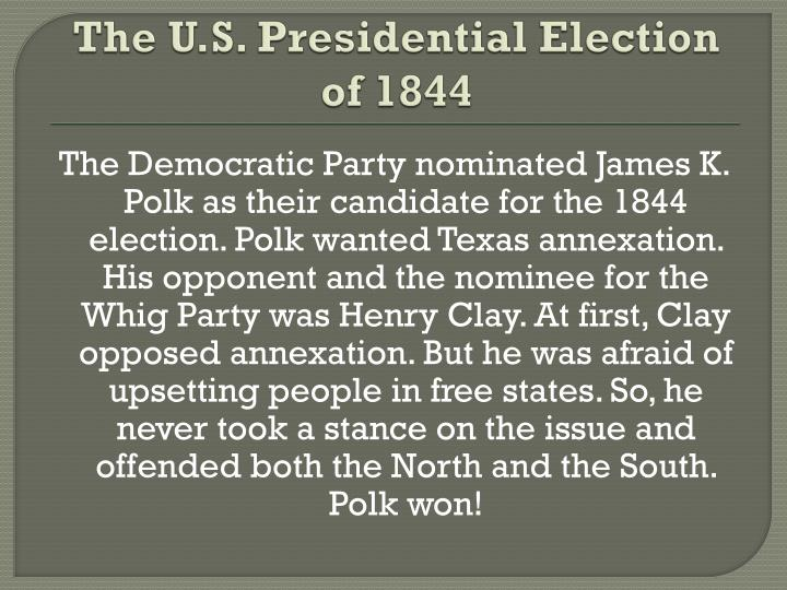 a biography of james knox polk a candidate of the democratic party in 1844 In 1844, james polk unexpectedly became the democrats' nominee for president he emerged as a compromise candidate after the more likely choice, former president martin van buren (1782-1862), who had lost his reelection bid in 1840, failed to secure the party's nomination.