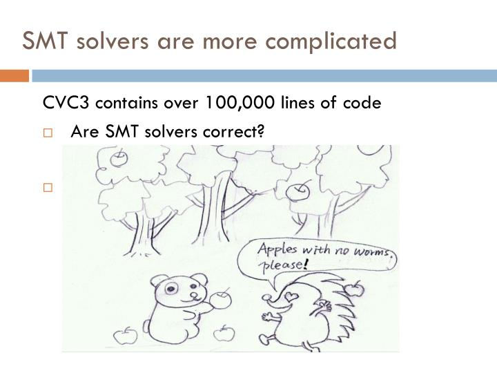 Smt solvers are more complicated