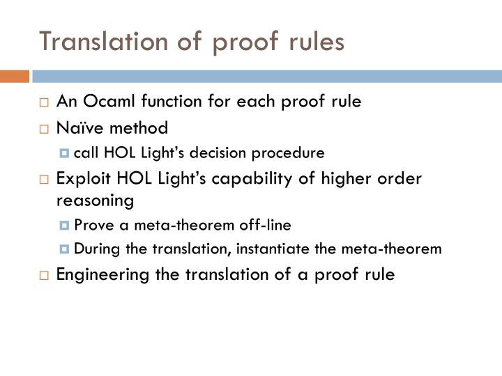 Translation of proof rules