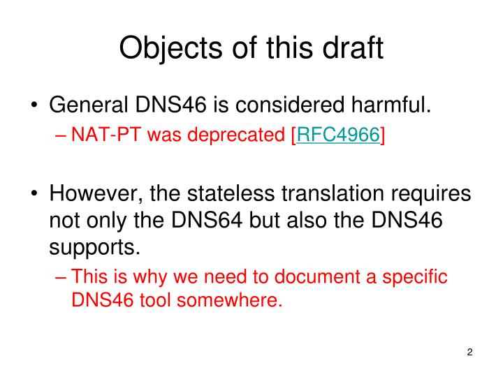 Objects of this draft