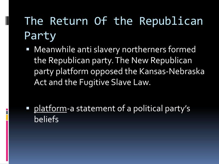 The Return Of the Republican Party