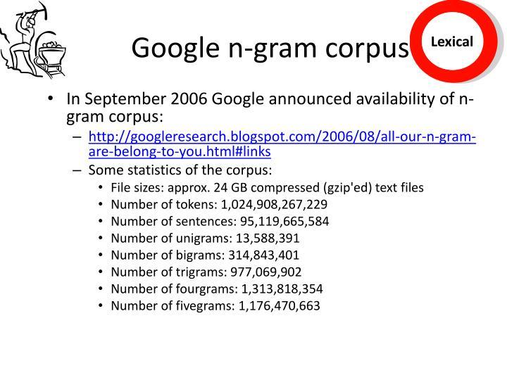 Google n-gram corpus