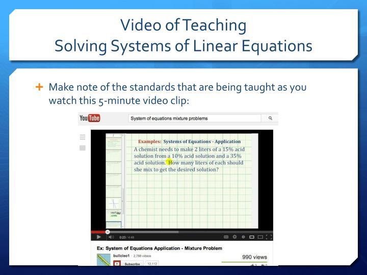 Video of Teaching