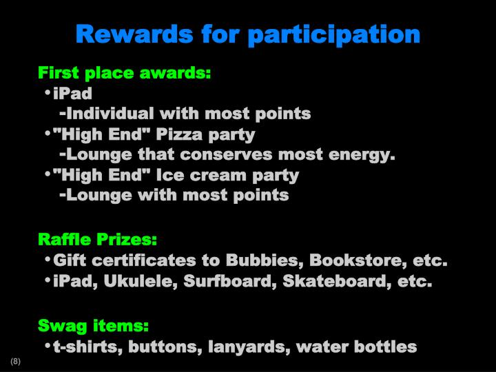 Rewards for participation