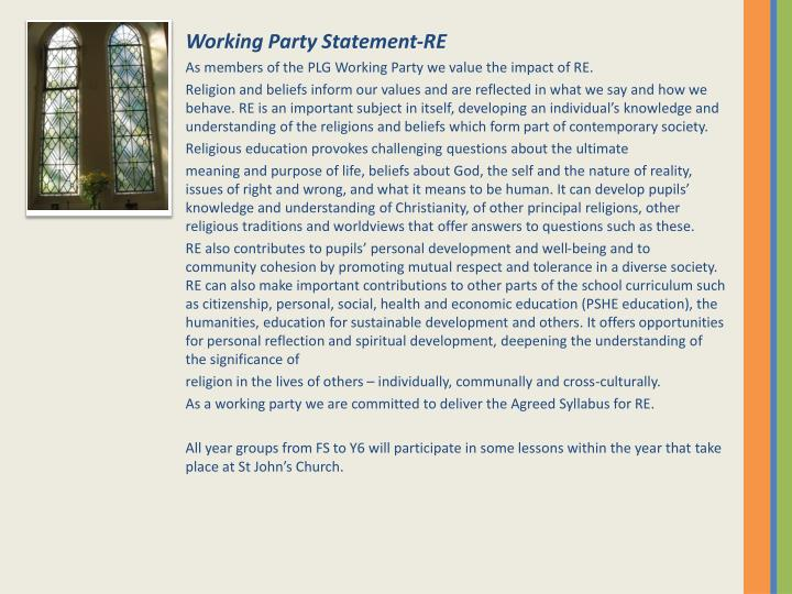 Working Party Statement-RE