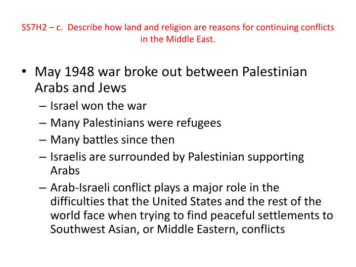 SS7H2 – c.  Describe how land and religion are reasons for continuing conflicts in the Middle East.