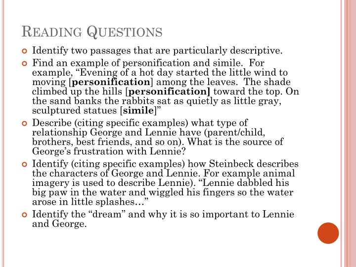Reading Questions