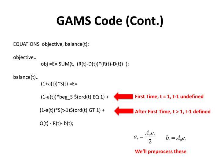 GAMS Code